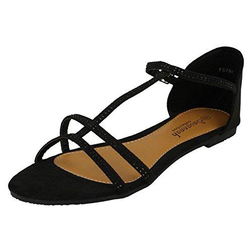 Ladies Savannah Diamante Flat Sandals Black HyBWD
