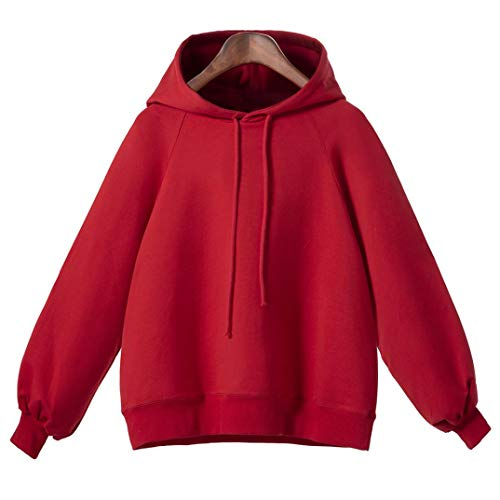 Sweat Lache Capuche Femmes Haut Hoodie Lanterne Blouse Manche Rouge Mince Chic Longue Mode SANFAHSION Shirt FCzvqwxFd