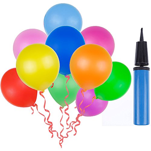 Lictin 100pcs Randomly Assorted Colors Party Balloons with a Blue Balloon Pump/ Compressor/Air Inflator for Party, Birthday, Wedding, Holiday, Anniversary and Other Celebrations (Air For Balloons)