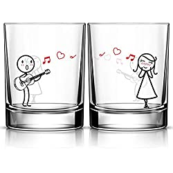 BOLDLOFT Love Me Tender Couple Drinking Glasses-His and Hers Gifts for Couples Wife Gifts from Husband Gifts for Her Girlfriend Valentines Day Anniversary Wedding Guitar Lover Gifts