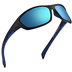 KastKing Hiwassee Polarized Sport Sunglasses for Men and Women, Ideal for Driving Fishing Cycling and Running,UV Protection (Frame: Matt Blackout/Lens: Smoke Base - Ice Mirror.)