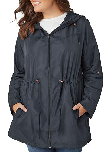 Itsmode Womens Casual Roll-Up Full Sleeve Plus Size Zip Up Parka Hooded Jacket Pocket Coats Outerwear Lightweight Raincoat Waterproof Windbreaker Fashion 2018 Oversized Camping 5XL Grey - Hooded Parka Lightweight