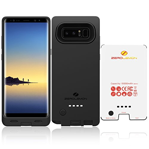 Samsung Galaxy Note 8 Battery Case, ZeroLemon Ultra Power Galaxy Note 8 10000mAh Extended Battery Case with Soft TPU Full Edge Protection for Samsung Galaxy Note 8 - Black