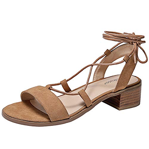 Women's Wide Width Flat Sandals - Comfortable Lace up Fringed Tassel Ankle Strap Suede Dress Shoes.(181108 BrownMF 9)