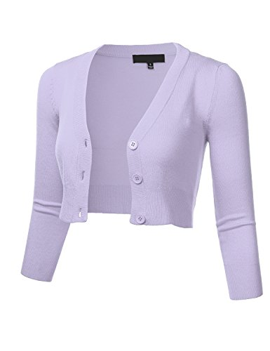 Women's Solid Button Down 3/4 Sleeve Cropped Bolero Cardigan Sweater Lilac M