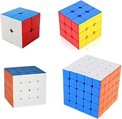 BestBuyToy 4 in 1 Rubik Cube Sticker Less One Hand Movement and Smooth Play Magic High Speed Multicolor Cube Puzzle Set Toy Set of 4 (2x2 3x3 4x4 5X5 Cubes)