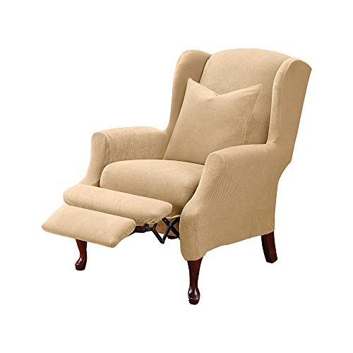 SureFit Stretch Pique - Reclining Wing Chair Slipcover - Cream