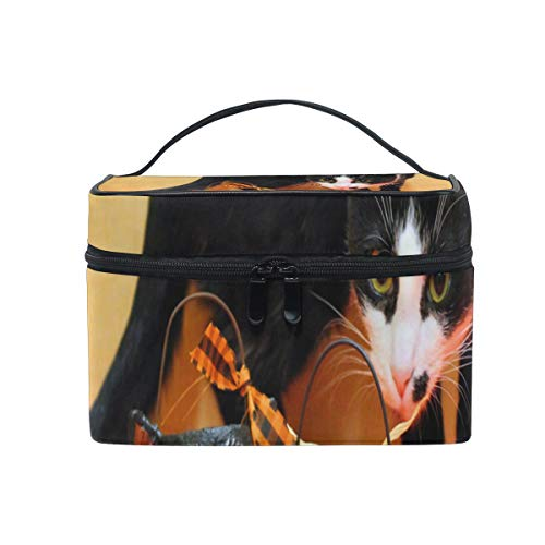 Travel Cosmetic Bag Hot Halloween Cat Toiletry Makeup Bag Pouch Tote Case Organizer Storage For Women -