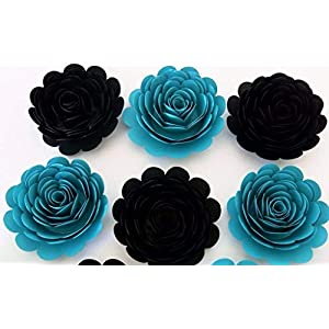 """Black and Teal Wedding Flowers, Big 3"""" Blossoms, Exquisite Paper Roses, Set of 6, Bridal Party Gift Idea, Floral Decor for Arch 1"""