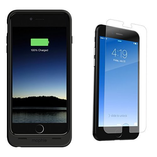 mophie juice pack for iPhone 6 Plus/6s Plus (2,600mAh) - Black and ZAGG InvisibleShield GlassPlus Screen Protector for Apple iPhone 7 Plus, iPhone 6s Plus, iPhone 6 Plus - Case Friendly bundle by mophie