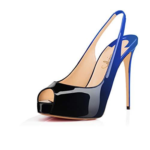 - Women'sPeepToeSlingback Sandals Hidden Platform Pumps 5