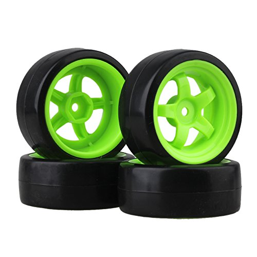 - BQLZR 65 mm OD Black Plastic Smooth Tires with Green Wheel Rims for RC 1: 10 On Road Racing & Drift Car Pack of 4