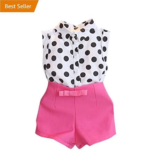 Baby Shorts Set MITIYGirl Child Kid Polka Dot T-Shirt Tops + Pink Bowknot Pants Shorts 1Set (7-8Y, Hot Pink)