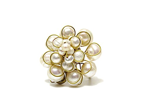 JANE JIRA White simulated Cultured Pearl Fashion Cocktail Ring Statement Jewelry for Women (Unique Pearl Rings)