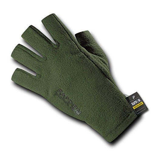 Polar Fleece Glove Liners (Rapdom Tactical Polar Fleece Half Finger Protected Cold Weather Gloves, OD, Med)