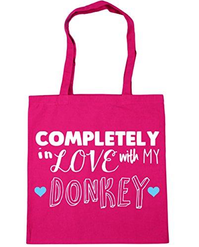 HippoWarehouse completamente en amor con mi burro Tote Compras Bolsa de playa 42cm x38cm, 10litros fucsia
