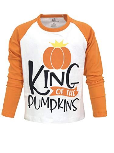 Unique Baby Boys Pumpkin King Halloween Thanksgiving Raglan Shirt (5) Orange -