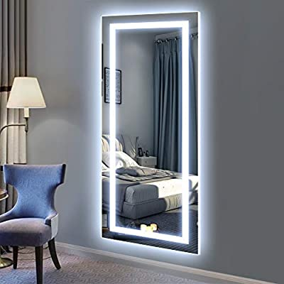 QiMH Vertical 47x22 Inch Wall Mount LED Lighted Vanity Mirror Aluminum Frame Backlit with Touch Sensor, Bedroom and Hall Hanging Rectangle Whole Body Mirror