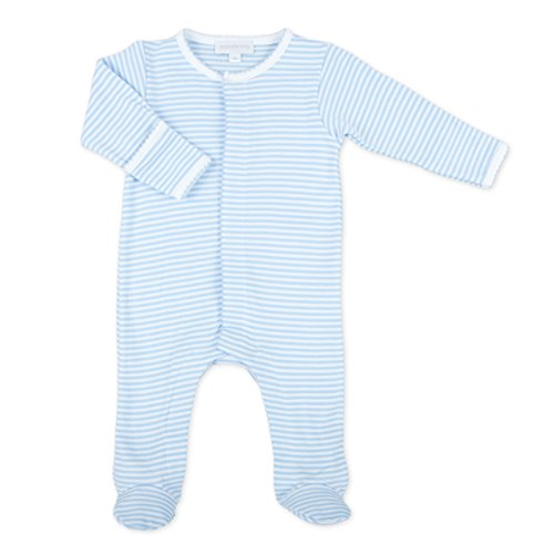 Magnolia Stripe - Magnolia Baby Baby Boy Stripes Essentials Embroidered Footie Blue 9 Months