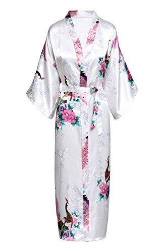 BABEYOND Vestido de satén de seda de Kimono vestir Peacock Vestido de quimono para las mujeres Pijamas de seda de la boda Blanco