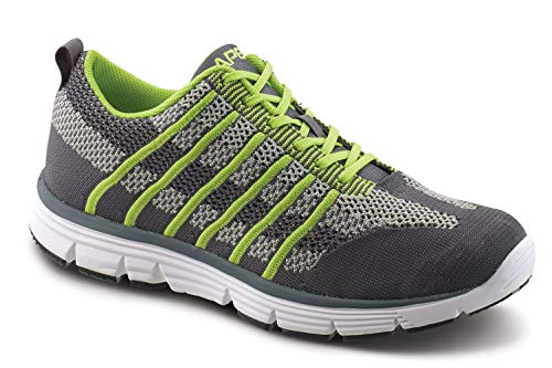 Apex A7200M Bolt Athletic Knit Sneaker Running Shoe, Gray/Lime, 7.5