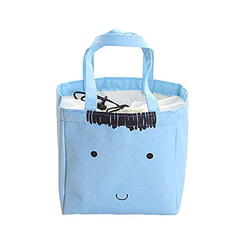 QHB Lunch Bag,Cute Lunch Bag Insulated Lunch Tote Soft Bento Cooler Bag,Canvas Box Tote Bag Thermal Cooler Food Lunch Bags (BU)