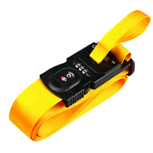 Luggage Strap, KASSD, With Electronic Scale And Digit Lock, 3-in-1 Design Travel Accessories Suitcase Bag Belts Set (1×luggage strap, yellow)