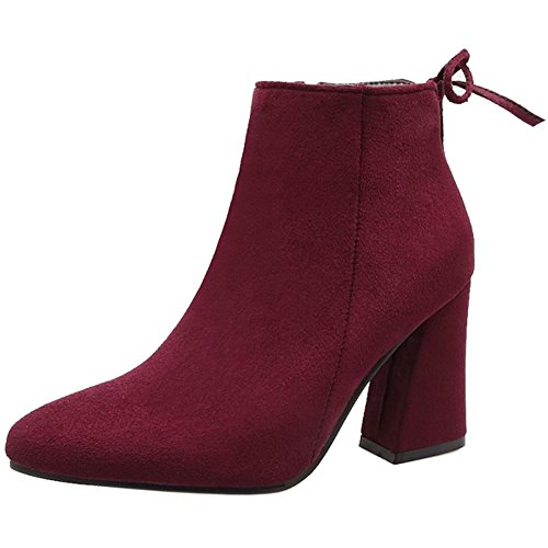 Heel Boots High Block High Ankle Red Office Stylish Winter KemeKiss Wine Women's Dress 846vYq