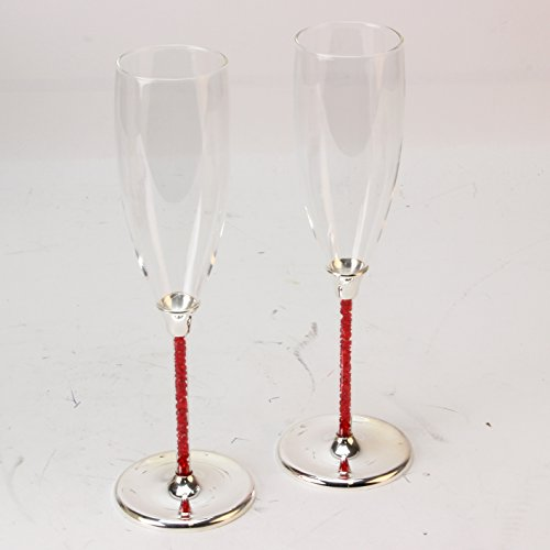 Ruby Champagne (Personalised Ruby Silver Plated Champagne Flutes Glasses with Crystal Stems 40th Anniversary)