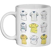 Taza de la Premier League de la Premier Leeds United con diseño de camisetas a través de los años