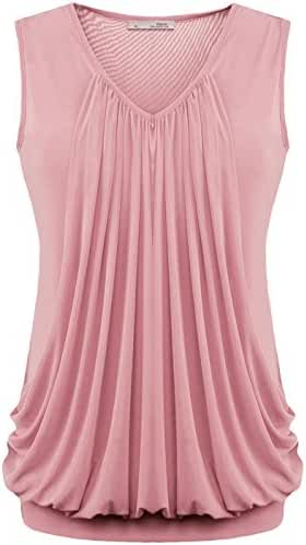 Messic Womens V Neck Sleeveless Pleated Front Tunic Top Blouse