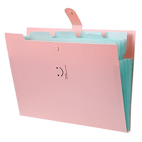 Pink File (BTSKY Expanding File Folder-- Smiling Face A4 and Letter Size Archival File Holder Organizer, 5 Pockets (Pink))