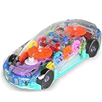 ANVITTOYWORLD Toy World 360 Degree Rotating Transparent Concept Electric Racing Car with 3D Flashing LED Light Music for Kids (3+ Ages)