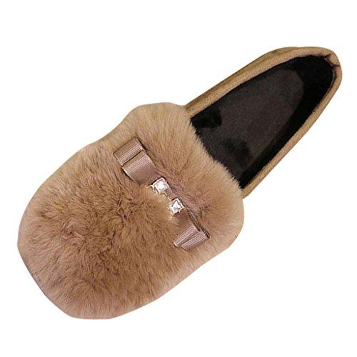 Binying Womens Bowknot Fur Shallow Loafer Flats Camel tgdf6zvaAa