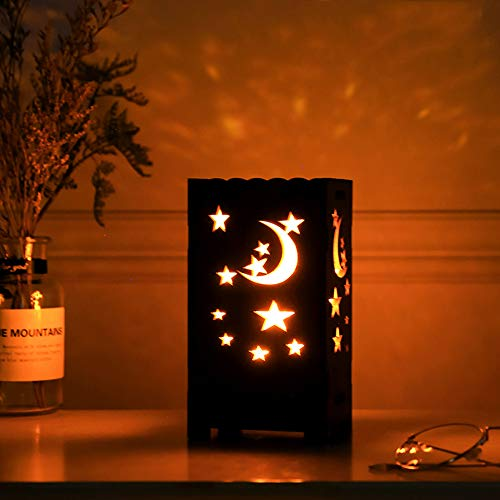 Wooden Star Sky Carved Night Light,AVEKI LED 7 Color Changing Hollowed-Out Table Lamp Moon Star Shaped Carving Projector Light for Baby Nursery Kids Bedroom Living Room Home Decor (Star & Moon)
