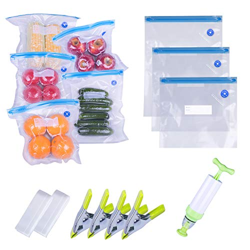Sous Vide Bags Kit For Anova and Joule Cookers,TaoTens 25 Reusable BPA Free Food Vacuum Sealer Bags, 1 Hand Pump and 4 Sealing Clip and 2 Sous Vide Bag Clip for Food Storage & Cooking 3 Sizes BPA Free