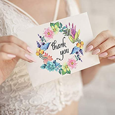 Weddings Thank You Notes with Envelopes and Sealing Stickers Krafster 35 Thank You Cards Business Greeting Cards Assortment Great for Baby Showers Birthdays 5 Unique Designs