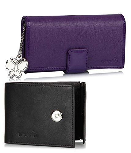 Butterflies Women's Wallet (Purple and Black) (BNS C059)