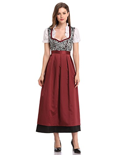 GloryStar Women's German Dirndl Dress 3 Pieces Traditional Bavarian Oktoberfest Costumes for Halloween Carnival (2XL, Red-MQ) for $<!--$39.90-->