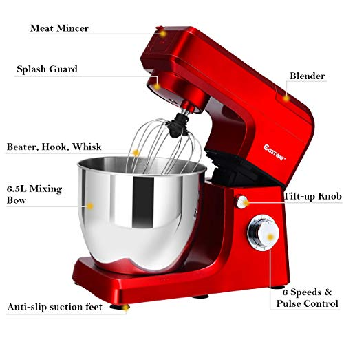 COSTWAY 3 In 1 Upgraded Stand Mixer with Stainless Steel Bowl Blender Meat Grinder Sausage Stuffer(RED) by COSTWAY (Image #6)