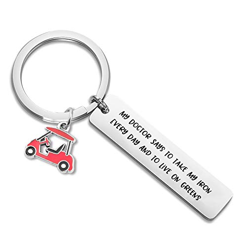 FOTAP Funny Golf Gifts My Doctor Say to Take My Iron Every Day and to Live On Greens Keychain Golf Cart Charm Keychain Golfer Gift(take My Iron) ()