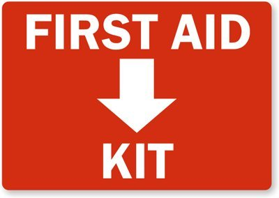 Amazon Com First Aid Kit Inside With Symbol Adhesive Signs And