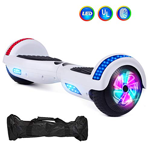 VEVELINE Hoverboard Two-Wheel Self Balancing Electric Scooter 6.5' UL 2272 Certified with Flash Wheel Top LED Light and Free Hoverboard Bag (White)