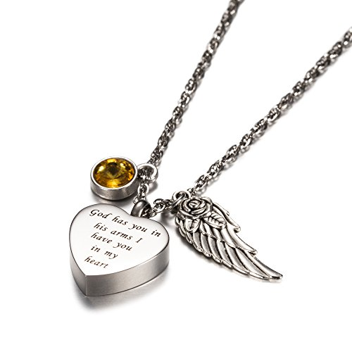 AMIST God has You in his arms with Angel Wing Charm Cremation Jewelry Keepsake Memorial Urn Necklace with Birthstone Crystal (November)