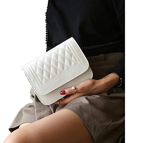Genius-route-store 2019 Women Messenger Bag Plaid Ladies Crossbody Bag Chain Trendy Beige Small Flap Shopping Handbag