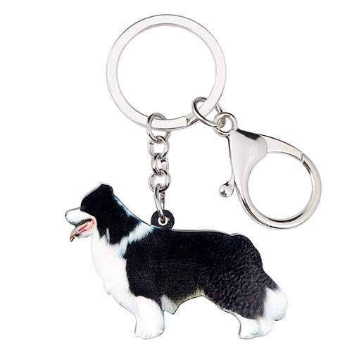Collie Keychain Acrylic Cartoon Border Collie Dog Key Chain Pet Puppy Keyring Animal Jewelry Car Bag Purse Charms for Women Girls Ladies Valentine Gifts