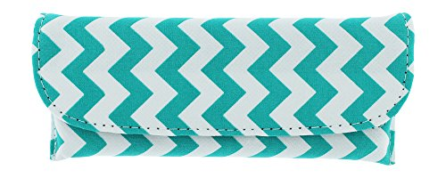 Canvas Eyeglass Case Front Closure Chevron Design Teal Fits Small/Medium Frames