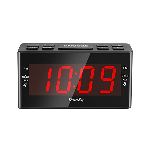 DreamSky FM Clock Radio With Dual Alarms ,Large Led Number Display ,Battery Backup And Sleep Timer