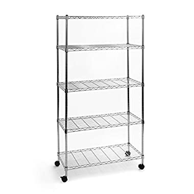 Seville Classics UltraZinc 5-Shelf Wire Shelving Rack with Wheels, 14 x 30 x 60