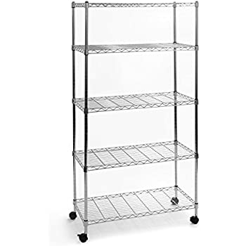 Seville Classics 5 Tier UltraZinc Steel Wire Shelving W Wheels 14 D X 30 60 H